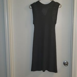Knitted sleeves dress, dark grey